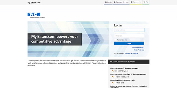 Click here to access the Eaton portal